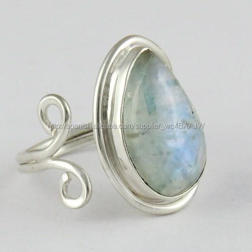68181b133b12 Impresionante de ley 925 del arco iris de piedra luna anillo de plata