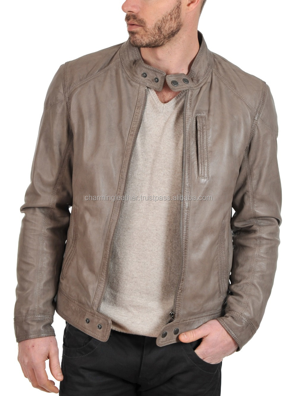 Stylish Collar Short Leather Jacket Mens/ 2015 New Style Leather ...