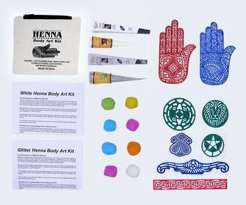 Henna Body Art Kit With 1 Glitter Henna Cone 1 White Henna Cone