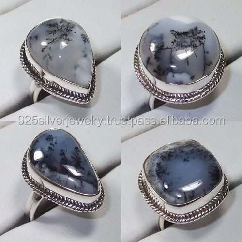 Dendrite Agate silver ring wholesale lot 925 silver jewelry Natural stone ring