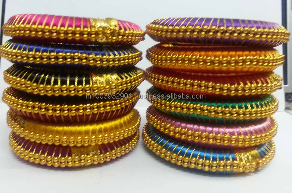 how to make silk thread bangles with zardosi work