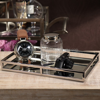 Contemporary Stainless Steel High Quality Tableware Rectangular Size Tray With Mirror Polished
