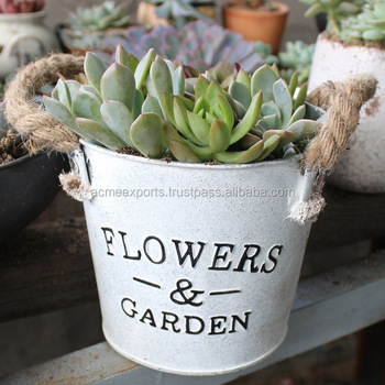 Galvanized Flower Pot With Jute Handle Galvanized | White Wash Garden Pot And Planters