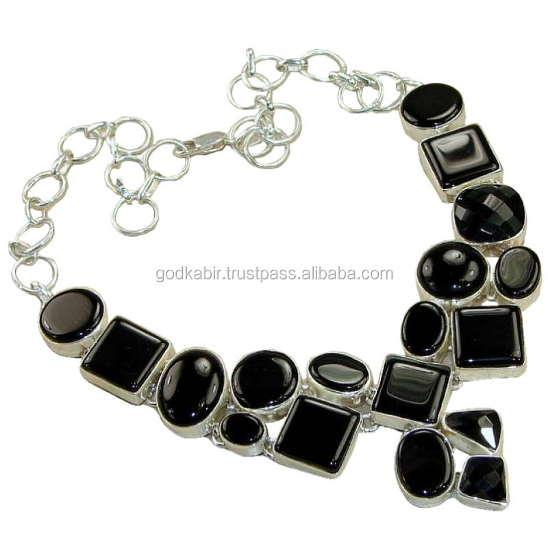925 Sterling Silver Handmade Neclace Jewelry With Onyx Gemstone