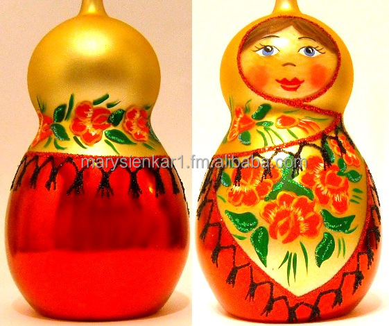 Hand Painted Blown Glass Christmas Matryoshka Christmas Ornament Made in Poland