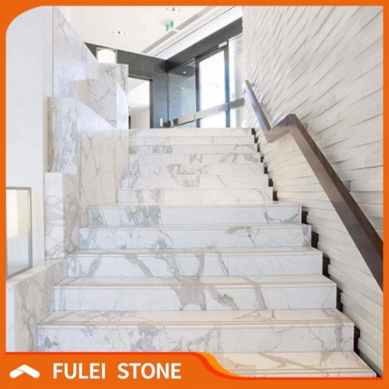 Indoor aangepaste wit marmeren trap ontwerpen voor marmer for Trap ontwerpen