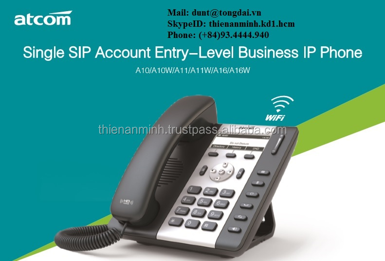 A10W Single SIP Account Entry-Level Business IP Phone ATCOM , Wifi , No PoE