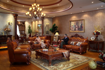 Wooden Leather Couch Set , Drawing Room Sofa Sets , Home Wooden Leather Sofa  Seats Furniture