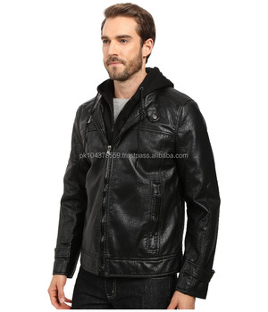 Wholesale Andrew Marc New fameA Distressed Men Moto Leather Jacket with Removable Bib Hoodie