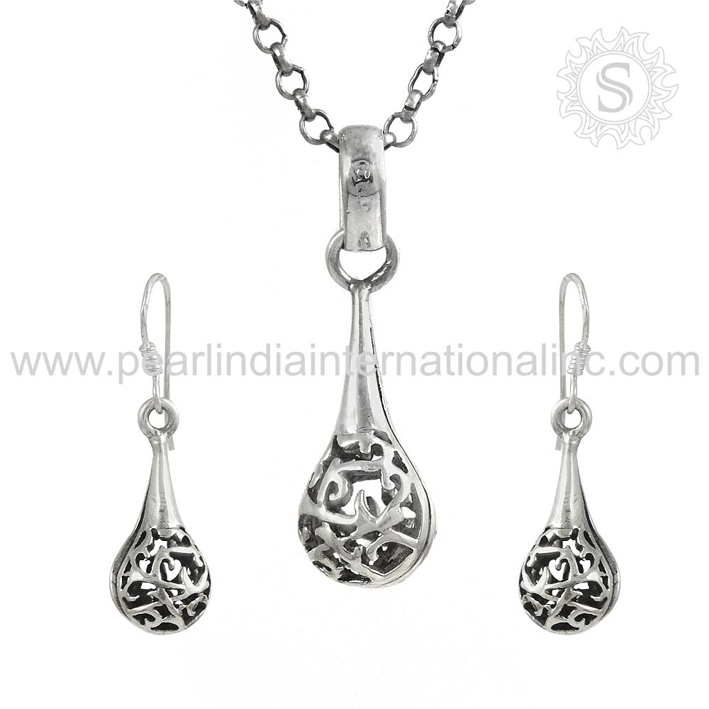 New Design Jewelry Set For Girl Wholesale 925 Sterling Silver Jewelry Indian Silver Jewelry