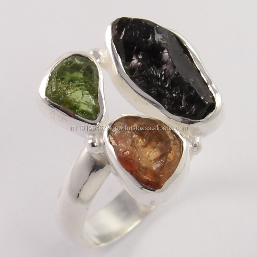 Delicate !! Black & Other Tourmaline Fancy Shape Silver Rings, Rough Gemstone Rings
