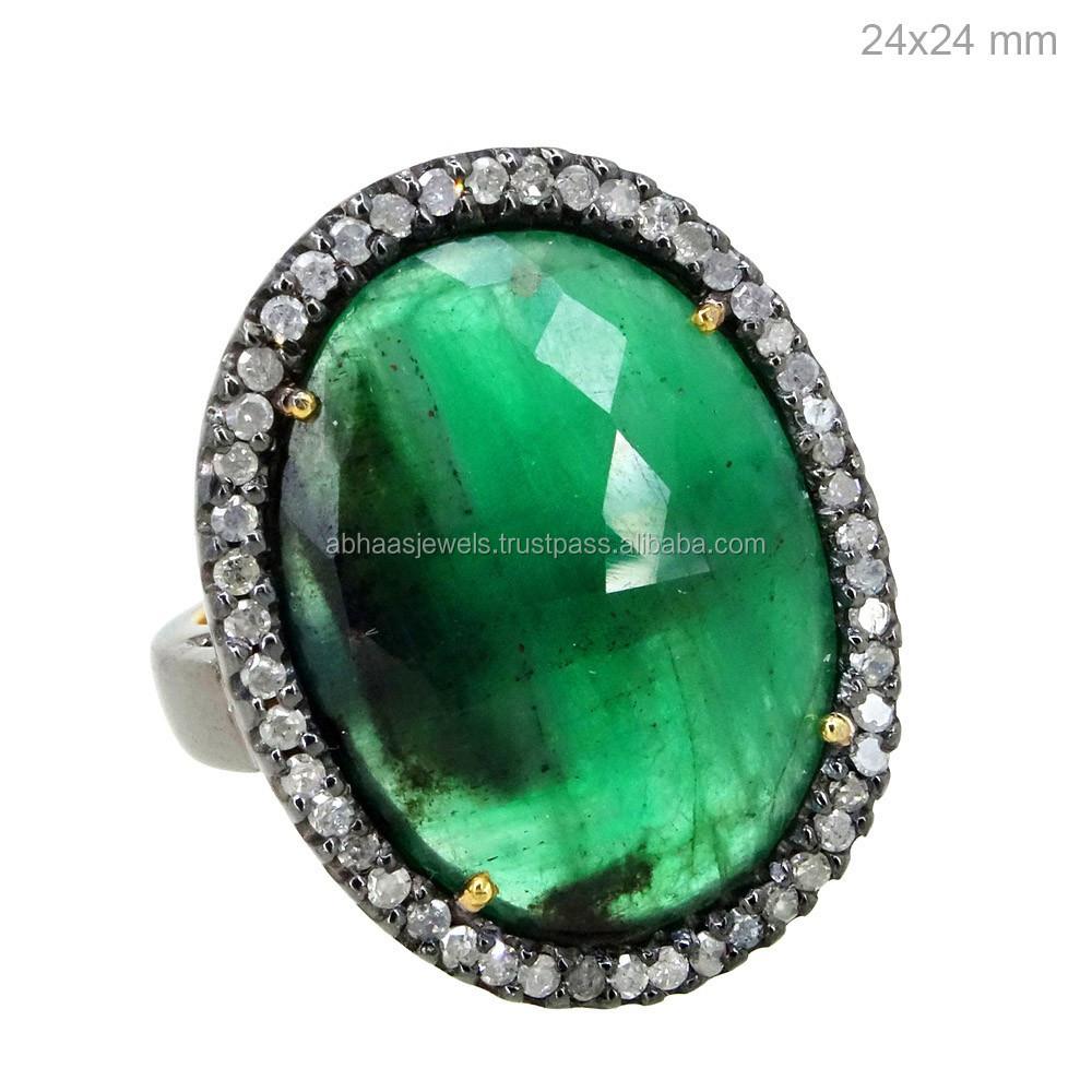 14k Gold Gemstone New Design Ladies Finger Ring 925 Sterling ...