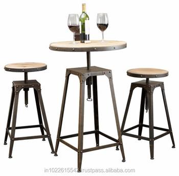 Industrial Metal Wood German Style Cafe Table Adjustable Height - Adjustable height cafe table