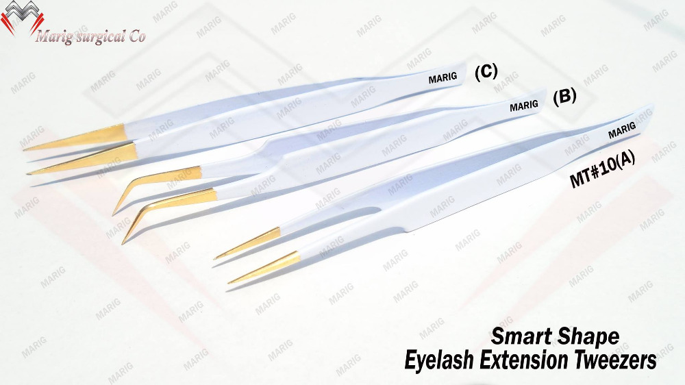 Perfect Color & Smart Shape Eyelash Extension Tweezers with Golden Tip MARIG