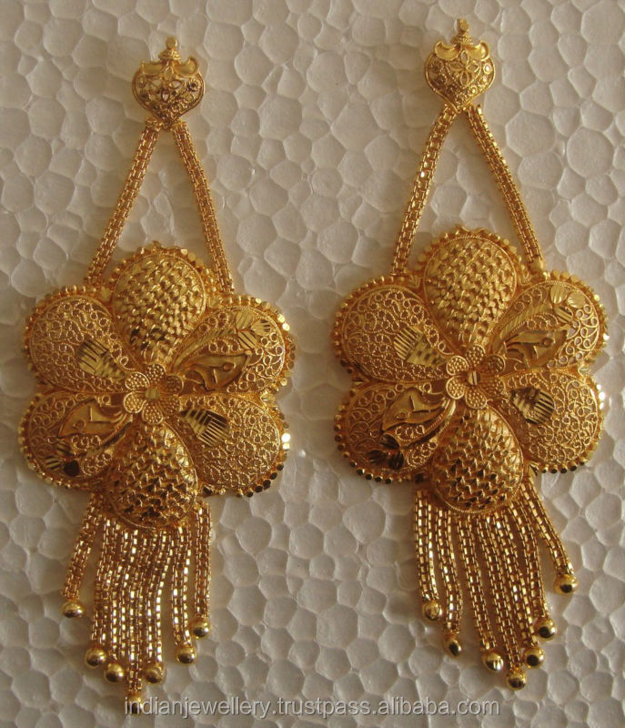 Indian Gold Plated Bridal Jewellery Earrings Exporter,Gold Plated ...