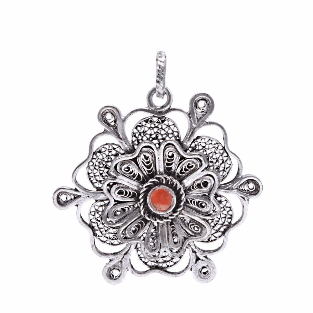Coral stone floral design oxidised silver tribal pendant jewelry coral stone floral design oxidised silver tribal pendant jewelry aloadofball Choice Image