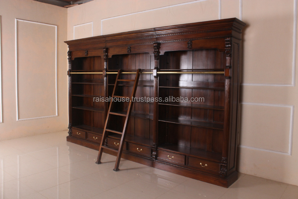 Antique Reproduction Furniture - Victorian Bookcase With Ladder ...