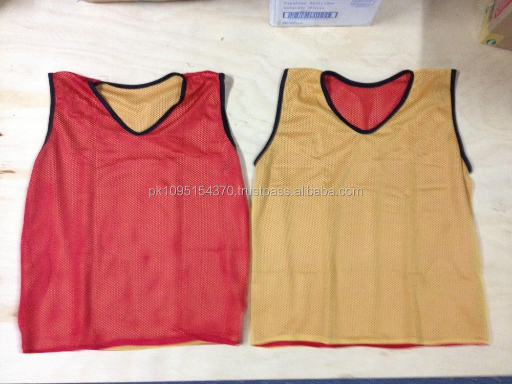 Reversible Yellow Red Training Mesh Bib Vest Soccer Reversible ...