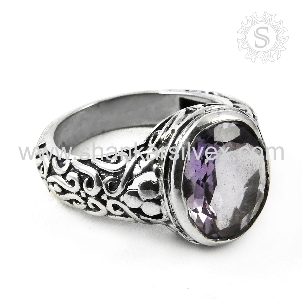 Lustrous Online Jewels 925 Sterling Silver Amethyst Gemstone Ring Wholesale Silver Jewelry Supplier