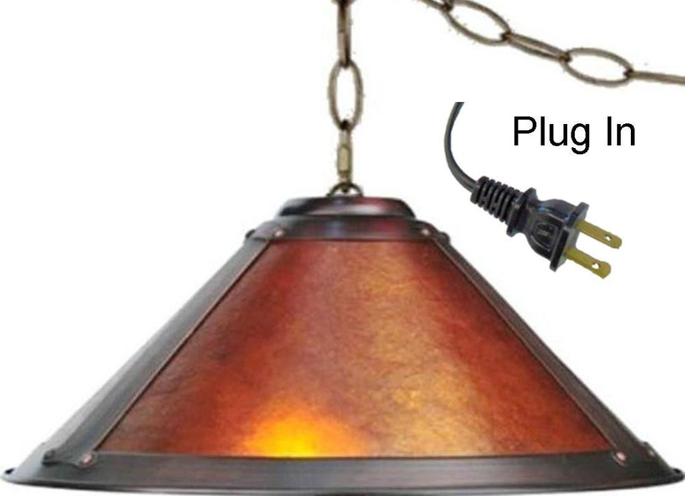 Mica Swag Lamp Pendant Light Art Deco Rustic Vintage Arts Crafts Dirk Van Erp Style