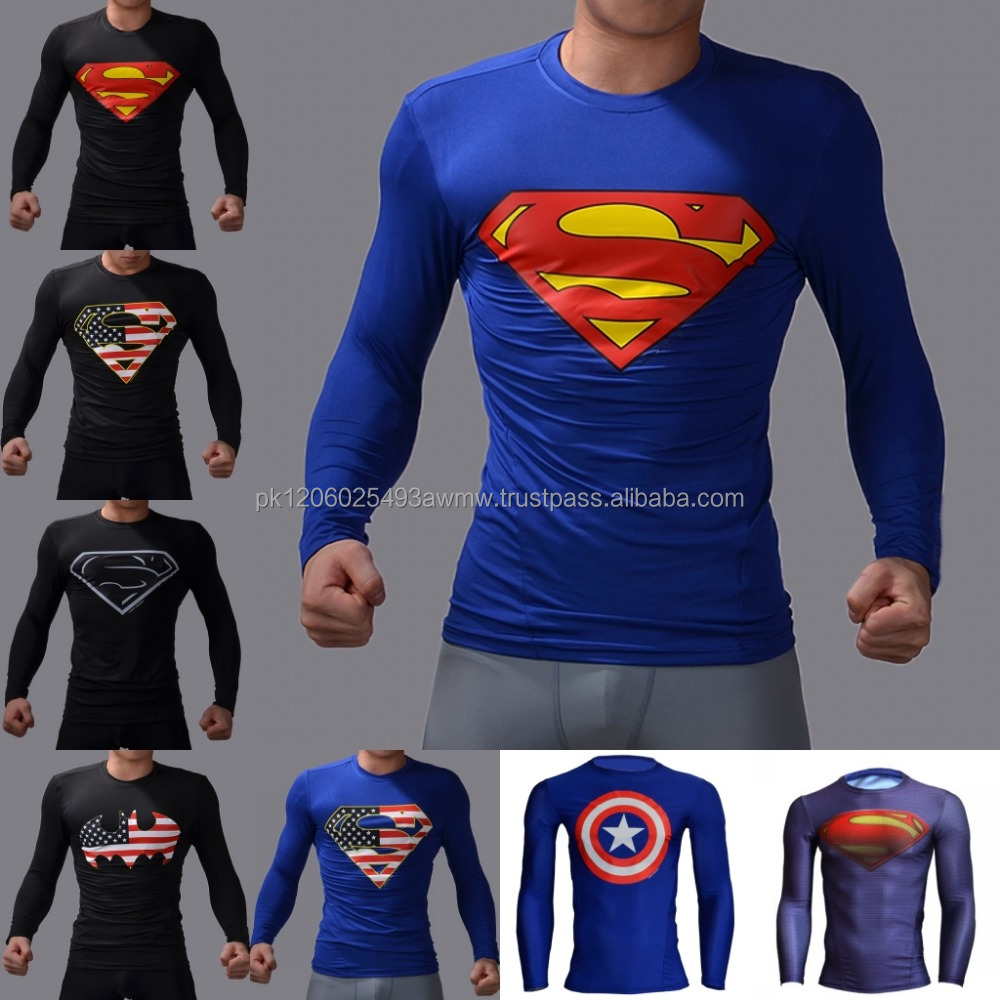 High Quality Men Fitness Wear Base Layer Long Sleeve T-Shirts Breathable fitness wear compression fitness men t shirt.