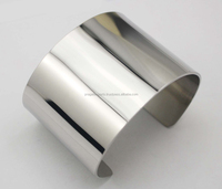 Beautiful Plain High Polish Cuff 925 Sterling Silver Bracelet