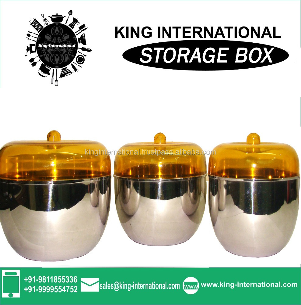 Stainless steel round canisters roti garma coloured storage box for food coloured storage box in kitchen