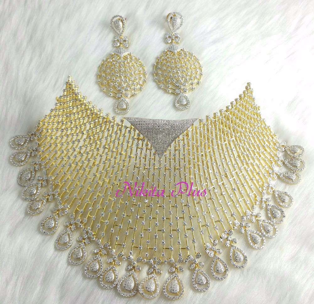 Bridal Necklace Set Buy Bridal Necklace Set Heavy Look Diamond Necklace Set Design Big Diamonds Necklace Set Product On Alibaba Com
