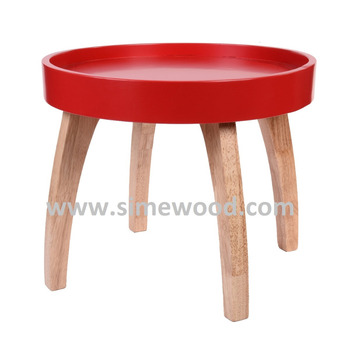 Round Red Wooden Coffee Table Living Room Side