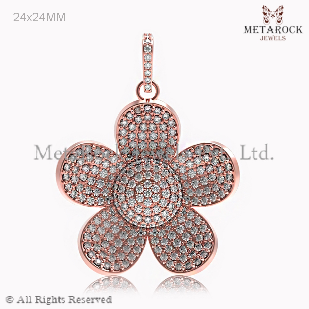 14k Rose Gold Pave Diamond Emoji Fashion Charm Pendant Jewelry