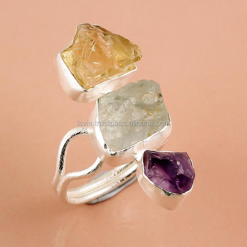 925 Sterling Silver Ring,Natural Rough Amethyst,Aquamarine,Citrine ...