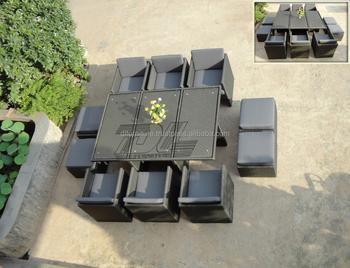 uv resistant vietnam manufacture 6 people rattan cube garden set