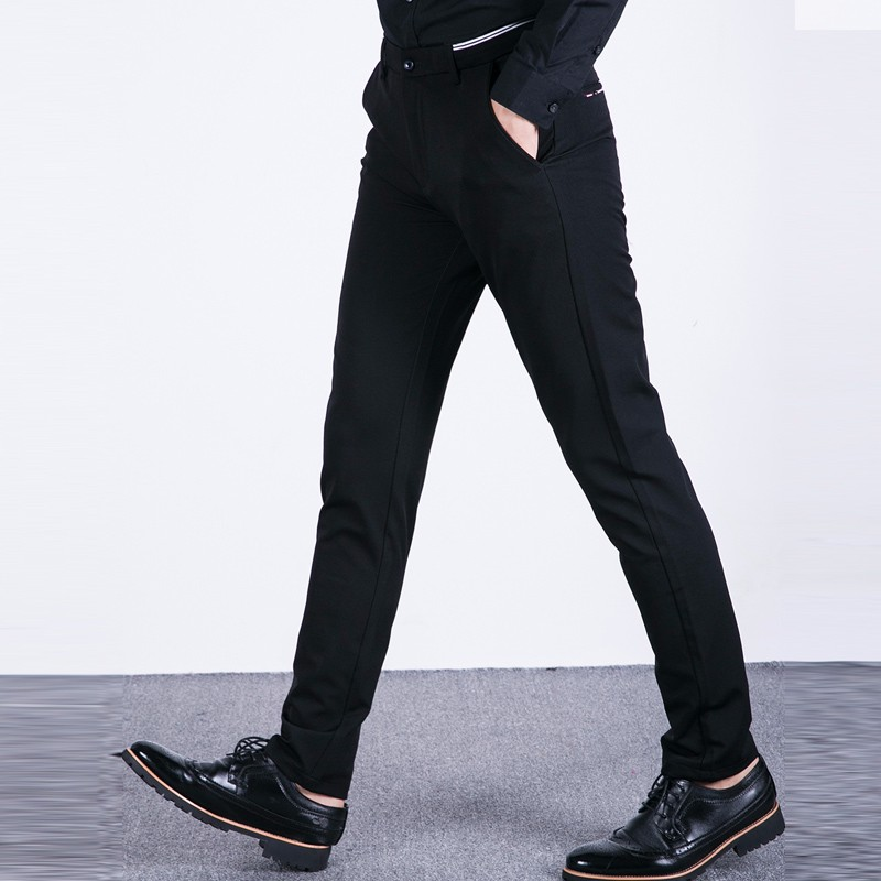 50fabdf71b Casual Men s Black Business Chinos Pants Cotton Slim Suit Pant Straight  Trousers Fashion Wedding Party Solid Pants for Man