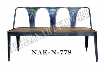 Vintage Iron Metal Cello Design 3 Seater Bench With Wooden Top Decorative Benches Indoor Wrought