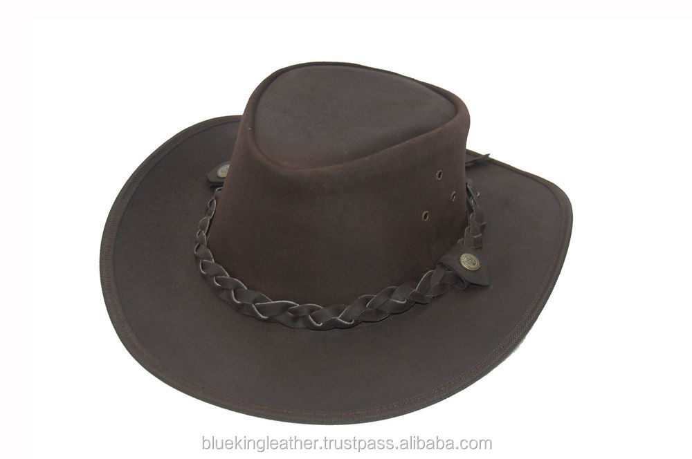 1866ff34e03 Light Dark Brown Australian Style Leather Bush Hat Cowboy Hat Dark Brown