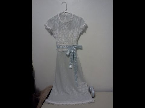 Sky Blue White Flowers Polyester Dress - Lace Bodice, Sash, Bow