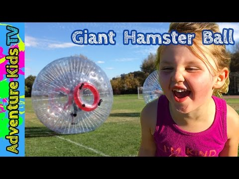 Adventure Kids TV Play in a Giant Human Hamster Ball - Super Fun Giant Hamster Ball
