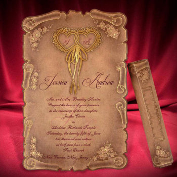 scroll wedding invitation card medieval style foil