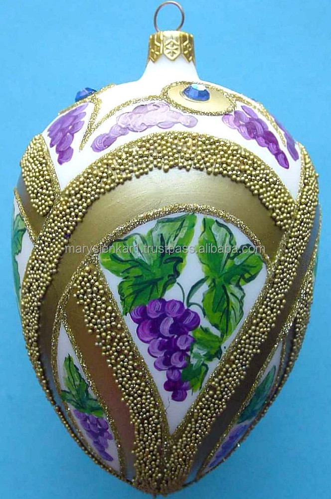 Mouth Blown Glass FABERGE STYLE EGGS Christmas Ornament Hand Made in Poland Item 2035