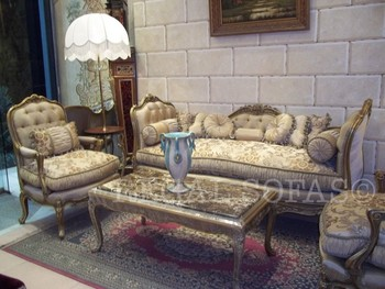 Cream Gold Sofa / Couch Suite Chaise Longue Salon Set Living Room Furniture  Set Italian French