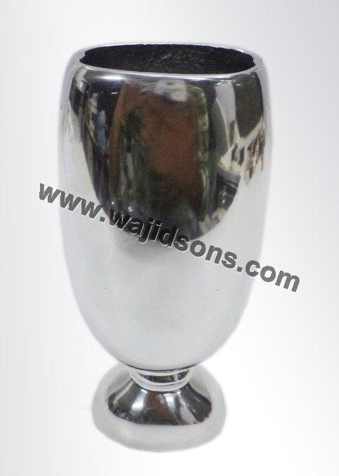 Antique Aluminium Flower Vase And Circular Base Silver Plated Flower