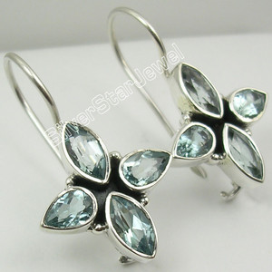 925 Sterling Silver Unseen MARQUISE BLUE TOPAZ 4 Gem URBAN STYLE Earrings 3 CM