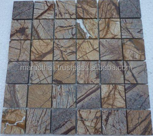 Natural Travertine Mosaic Tile L 300mm W 300mm: Marble Forest Brown 300mm X300mm River Wash / Natural