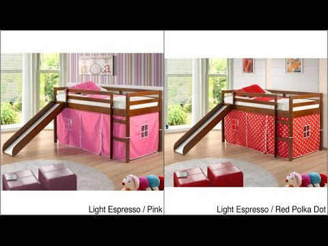 Kids' Furniture | Kids' Beds | Donco Kids Twin size Tent Loft Bed with Slide