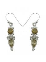 gemstone earrings larimar jewelry Indian jewelry925 Sterling Silver Citrine Stone Dangle Earring Set Women India Fashion Jewelry