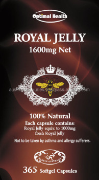 Optimal Health Royal Jelly 1600mg Softgel 365 Capsules Australian Made vitamins health dietary supplement 100