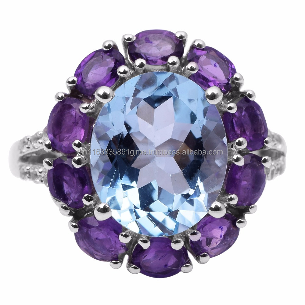 Attractive Women Blue Topaz Amethyst Cubic Zirconia 925 Sterling Solid Silver Jewelry Ring