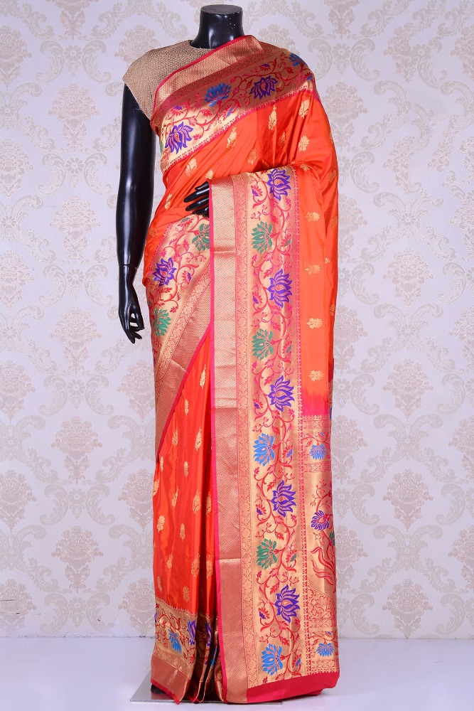 Pure Paithani Saree-Orange & Gold