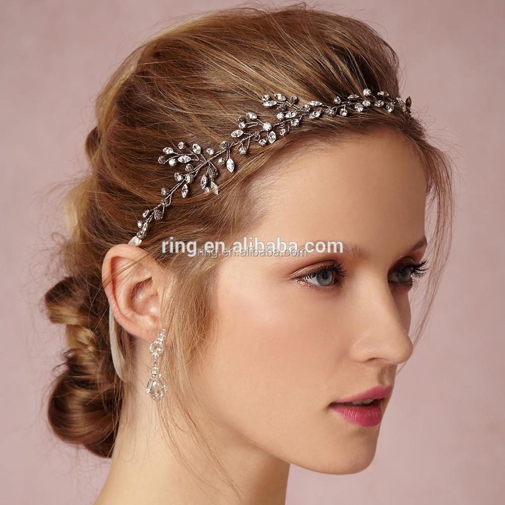 Diy Handmade Bridal Crystal Tiara Hair Vine Headbands Crown Headpiece With Satin Ribbon