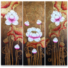 Hotel / Home /Spa Decor Original Asian Thai Style Pink Lotus Flowers Handpainted with Acrylic and Gold Leaf Painting